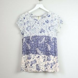 Lucky Brand Blue Floral Short Sleeve Blouse